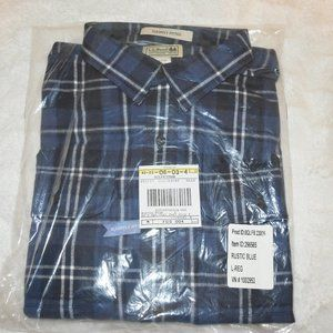 LL Bean slightly fitted rustic blue flannel shirt